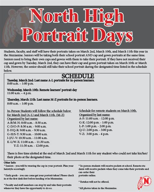 North High Portrait Days Schedule