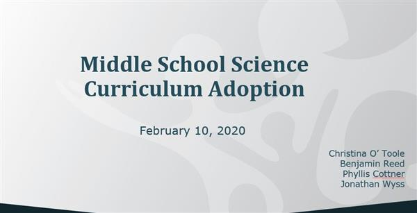 BOE video: Middle School Science Curriculum Adoption