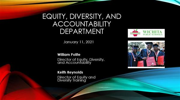 BOE presentation on the Department of Equity, Diversity and Accountability.