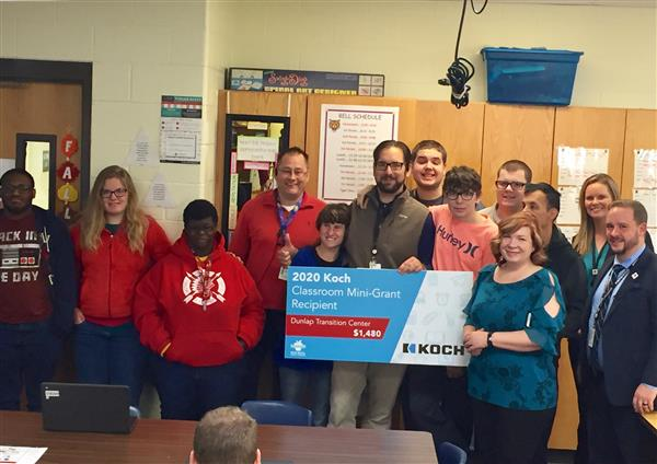 Dunlap Transition Campus at Chisholm interrelated teacher Kevin Loss received a $1,480 Koch grant