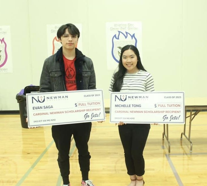 Northeast Magnet seniors Evan Saga and Michelle Tong win Newman University full-ride scholarship