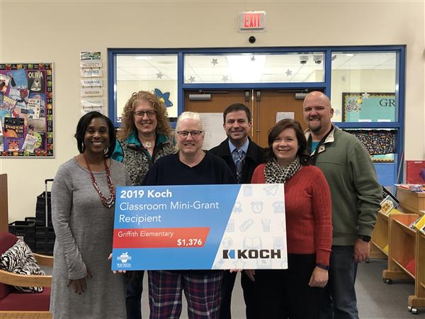 Griffith teacher Donna Wilson was surprised with a Koch classroom mini-grant.