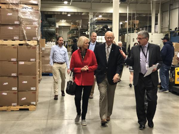 Senator Pat Roberts tours the food production center at the Wichita Public Schools