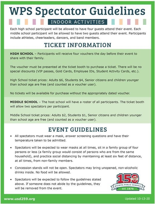 WPS athletic spectator guidelines
