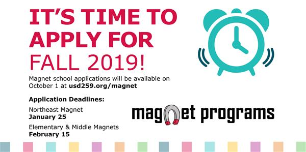 Magnet school applications available graphic