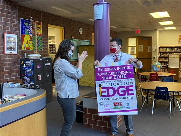 Seltzer Elementary library media specialist Paula Mierowsky surprised with an Education EDGE grant