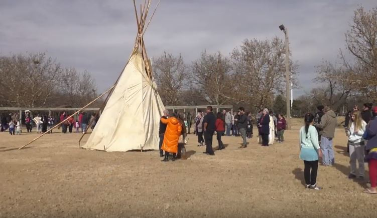Video: WPS Native American Program unveils buffalo hide tipi