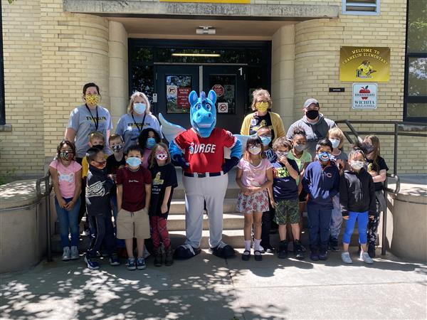 The Wichita Wind Surge baseball team unveiled their mascot at Franklin Elementary