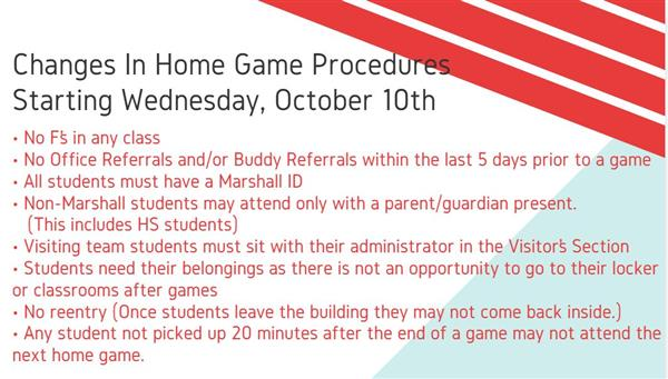 All Home Marshall Games will Follow these Rules