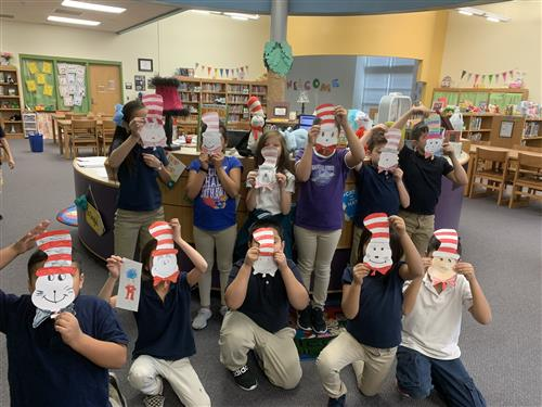 2nd graders celebrating Dr Seuss