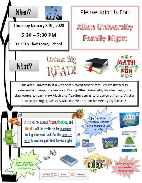 Allen University Family Fun Night - Jan. 30th 5:30-7:30