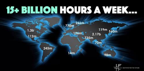 Picture of World Map with hours per week spent on gaming