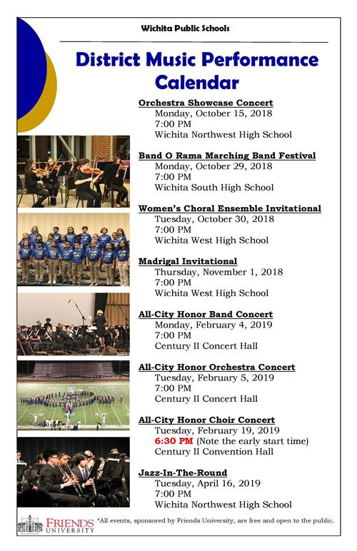 All District Music Peformances, sponsored by Friends University, are free and open to the public. Come join us!