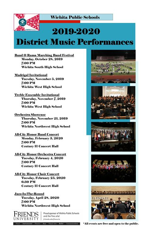 All District Music Performances, sponsored by Friends University, are free and open to the public. Come join us!