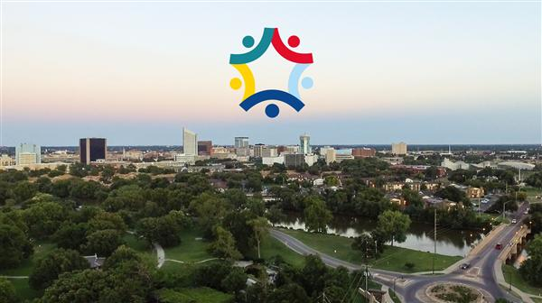 Aerial view of downtown Wichita
