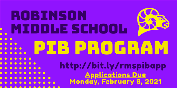 Robinson Middle School Pre-IB: Apply NOW!