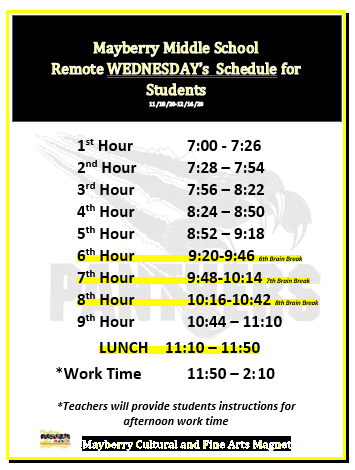 Remote Wednesday Student Schedule