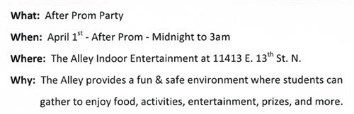 After Prom Info
